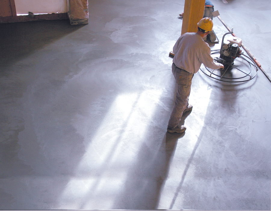 man shining the floor