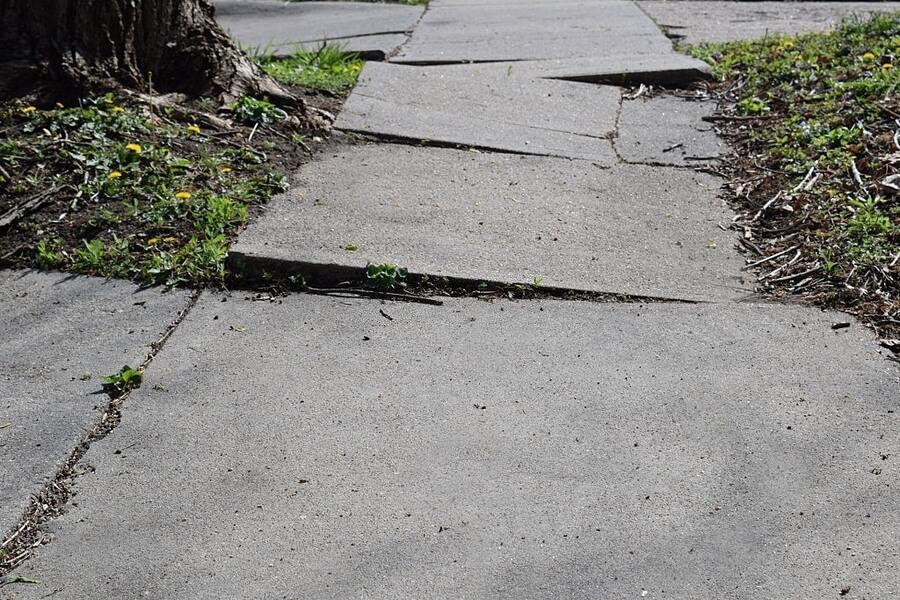A uneven concrete